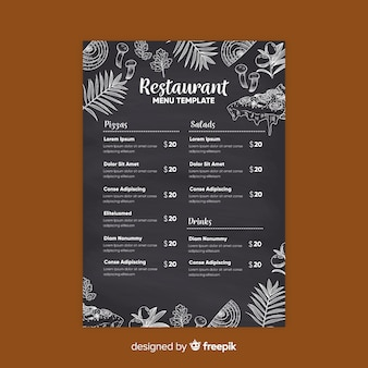Elegante plantilla de menú de restaurante con estilo de pizarra