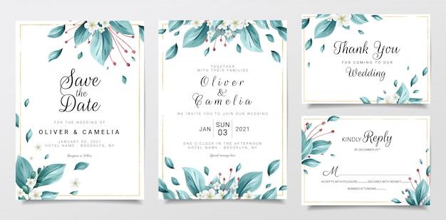 Elegante plantilla de papelería de invitación de boda con acuarela floral y borde de brillo
