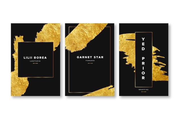 Elegante plantilla de portadas de papel dorado