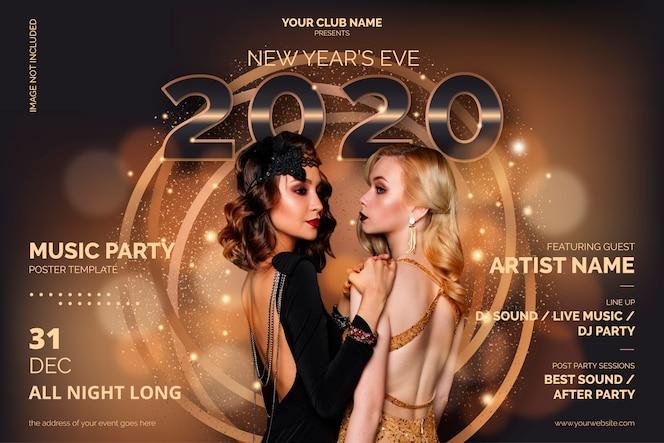 Elegante plantilla de póster de fiesta de año nuevo