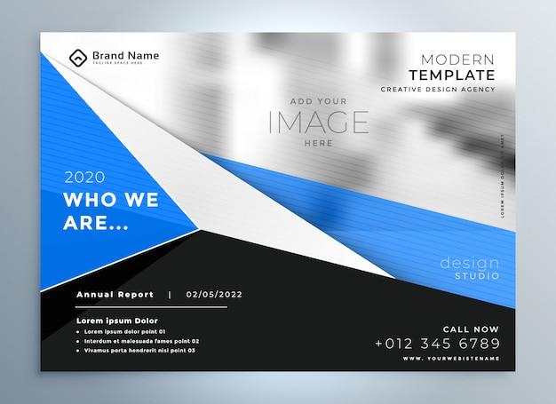 Elegante plantilla de presentación de folleto comercial geométrico azul
