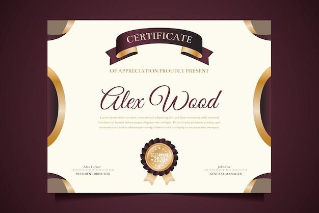 Elegante plantilla de reconocimiento de certificados