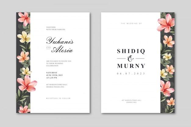 Elegante plantilla de tarjeta de boda con acuarela floral colorida
