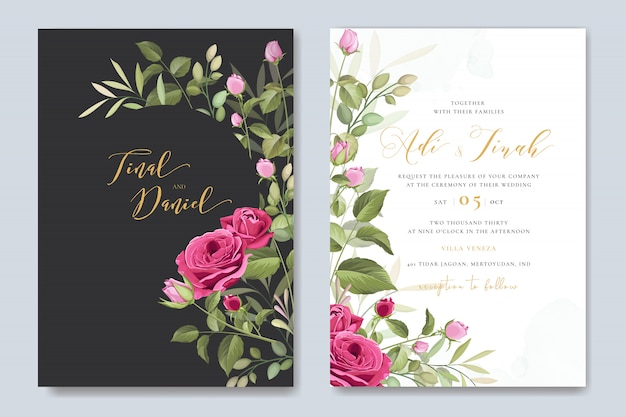 Elegante plantilla de tarjeta de boda con corona de rosas hermosas