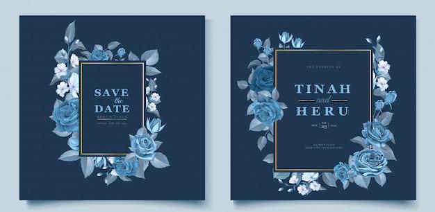Elegante plantilla de tarjeta de boda con flores y hojas azules cleassic