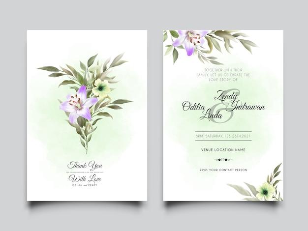 Elegante plantilla de tarjeta de boda con hermosa ilustración de lirio dibujado a mano