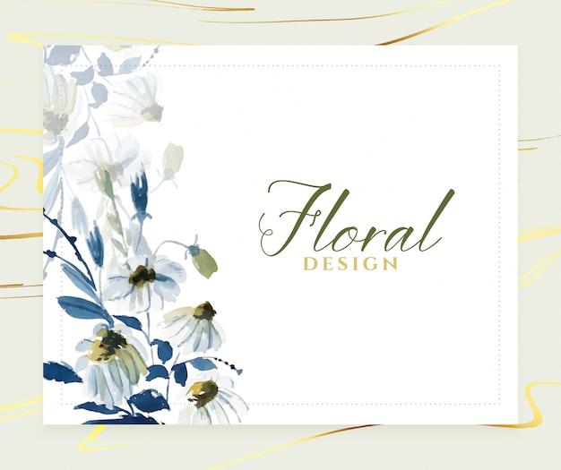 Elegante plantilla de tarjeta floral azul acuarela