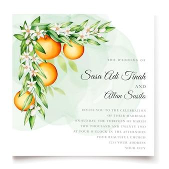 Elegante plantilla de tarjeta de invitación de acuarela naranja frutas