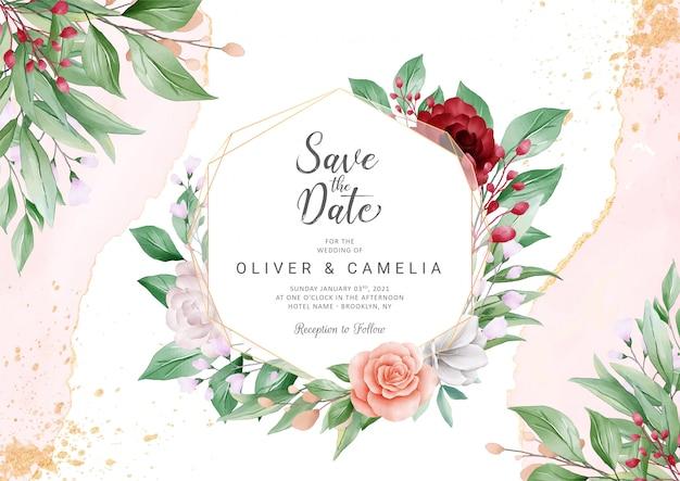 Elegante plantilla de tarjeta de invitación de boda abstracta con marco floral geométrico