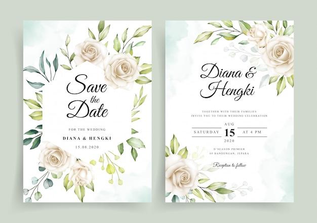 Elegante plantilla de tarjeta de invitación de boda con acuarela floral blanca