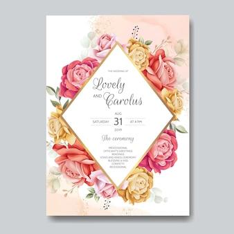 Elegante plantilla de tarjeta de invitación de boda en acuarela con hermosas flores y hojas