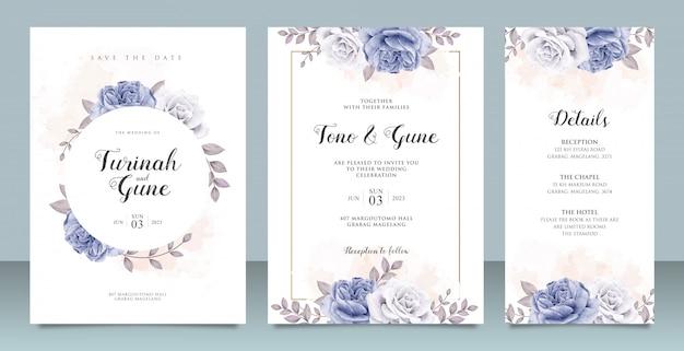 Elegante plantilla de tarjeta de invitación de boda con acuarela de peonías azules