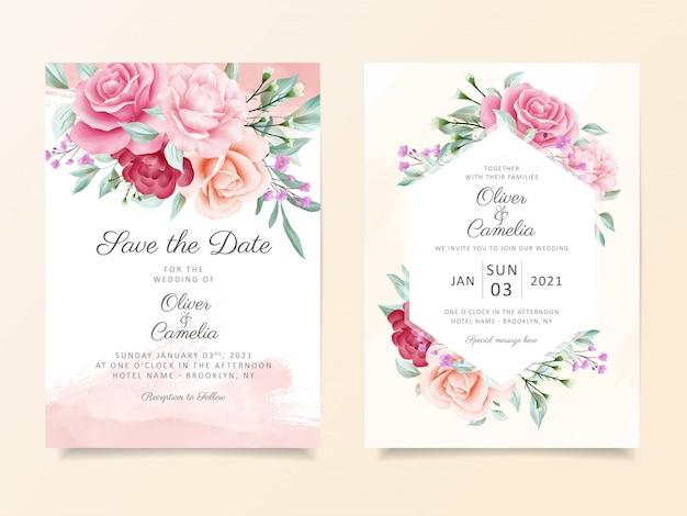 Elegante plantilla de tarjeta de invitación de boda botánica con decoración suave de flores de acuarela