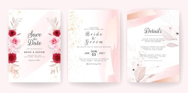 Elegante plantilla de tarjeta de invitación de boda con decoración floral y acuarela de oro