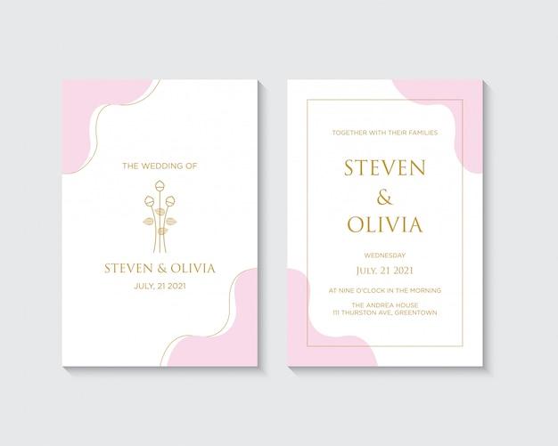 Elegante plantilla de tarjeta de invitación de boda con decoración floral dorada