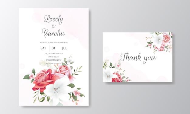 Elegante plantilla de tarjeta de invitación de boda con decoración floral