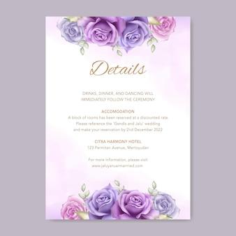 Elegante plantilla de tarjeta de invitación de boda con decoración de flores de acuarela