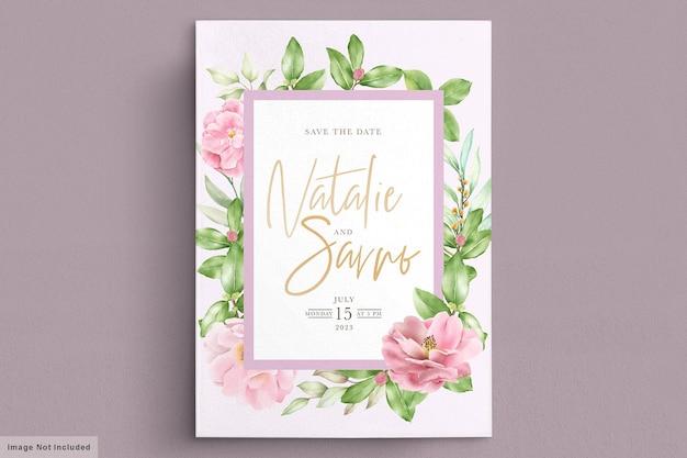 Elegante plantilla de tarjeta de invitación de boda floral camelia