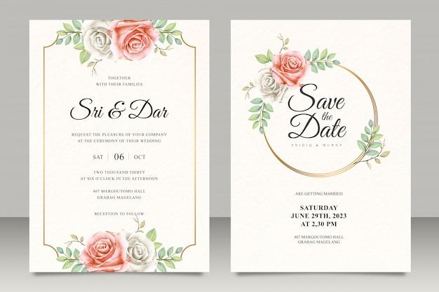 Elegante plantilla de tarjeta de invitación de boda floral con marco dorado