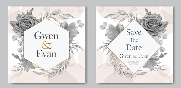 Elegante plantilla de tarjeta de invitación de boda floral vintage y marco dorado