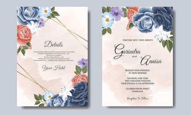 Elegante plantilla de tarjeta de invitación de boda con flores y hojas azul marino premium vector