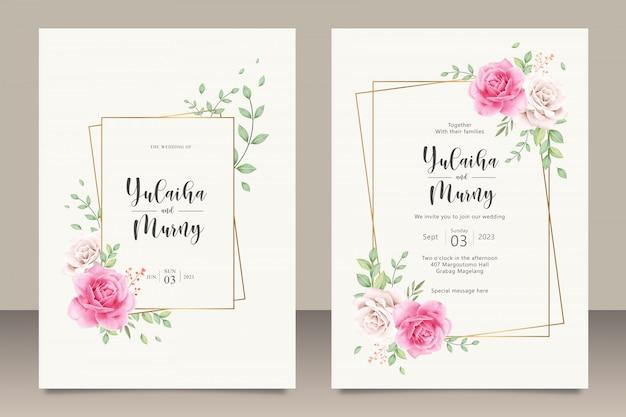 Elegante plantilla de tarjeta de invitación de boda con flores rosas rosadas