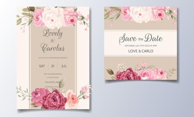 Elegante plantilla de tarjeta de invitación de boda con hermosas flores y hojas