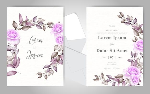 Elegante plantilla de tarjeta de invitación de boda con hermoso adorno floral