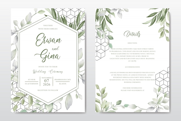 Elegante plantilla de tarjeta de invitación de boda con hojas de acuarela