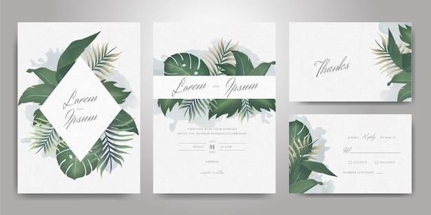 Elegante plantilla de tarjeta de invitación de boda con hojas tropicales y salpicaduras de acuarela