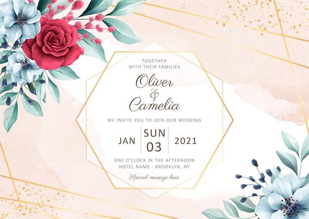 Elegante plantilla de tarjeta de invitación de boda horizontal con hermosa decoración floral acuarela