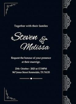 Elegante plantilla de tarjeta de invitación de boda con mandala plateado