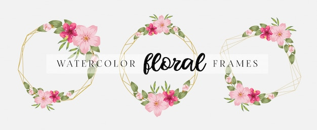 Elegante plantilla de tarjeta de invitación de boda con marcos florales geométricos