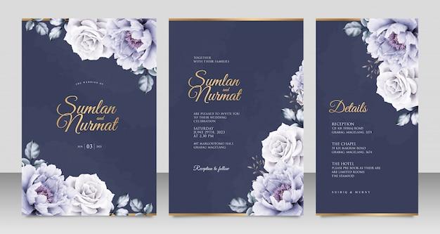 Elegante plantilla de tarjeta de invitación de boda con peonías aquarel sobre fondo azul marino