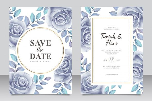 Elegante plantilla de tarjeta de invitación de boda con rosas azules aquarel