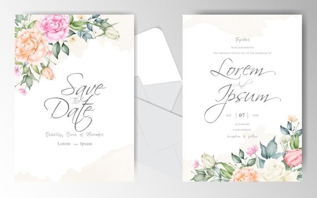 Elegante plantilla de tarjeta de invitación de boda con salpicaduras de acuarela cremosa