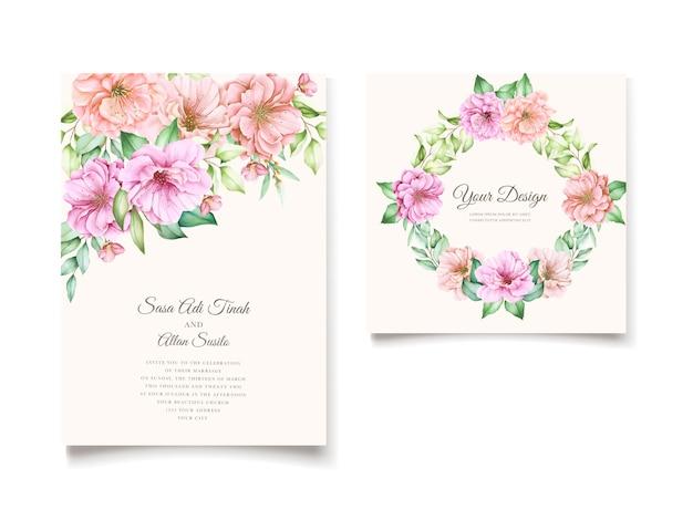 Elegante plantilla de tarjeta de invitación de flor de cerezo