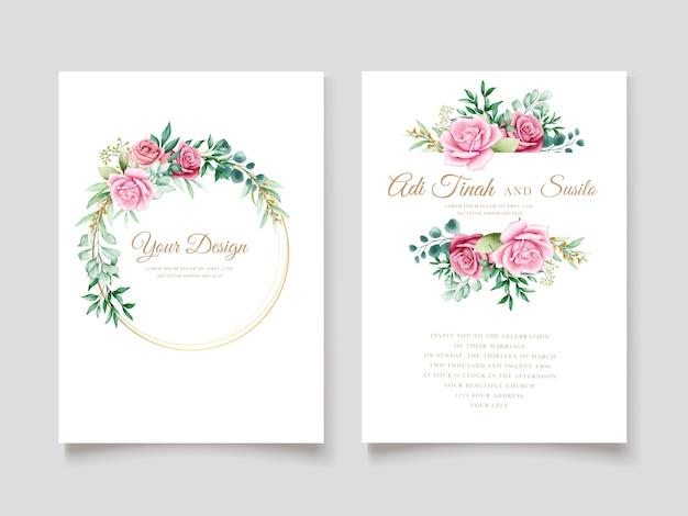 Elegante plantilla de tarjeta de invitación floral acuarela
