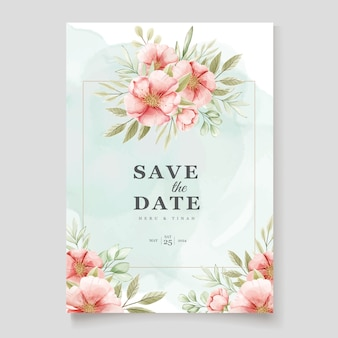 Elegante plantilla de tarjeta de invitación floral y hojas de acuarela
