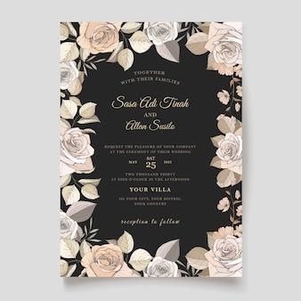Elegante plantilla de tarjeta de invitación floral marrón