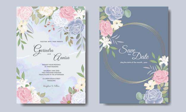 Elegante plantilla de tarjeta de invitaciones de boda con colouful floral y hojas