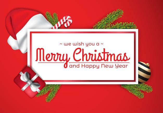 Elegante plantilla de tarjeta roja de navidad y año nuevo