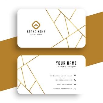 Elegante plantilla de tarjeta de visita blanca y dorada