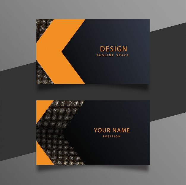 Elegante plantilla de tarjeta de visita mínima en negro, naranja y oro.