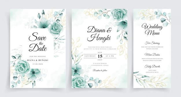 Elegante plantilla de tarjetas de boda con acuarela de eucalipto