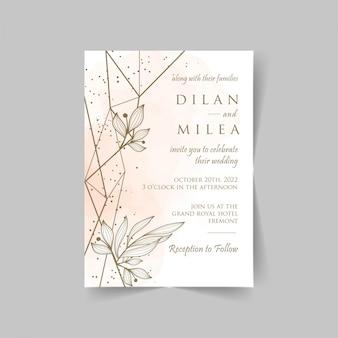 Elegante plantilla de tarjetas de invitación de boda con decoración floral acuarela