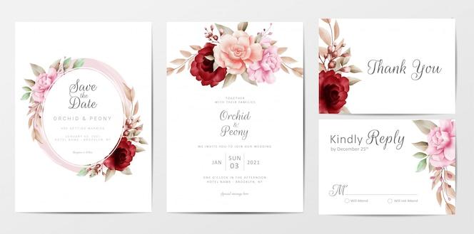 Elegante plantilla de tarjetas de invitación de boda con decoración de flores de acuarela