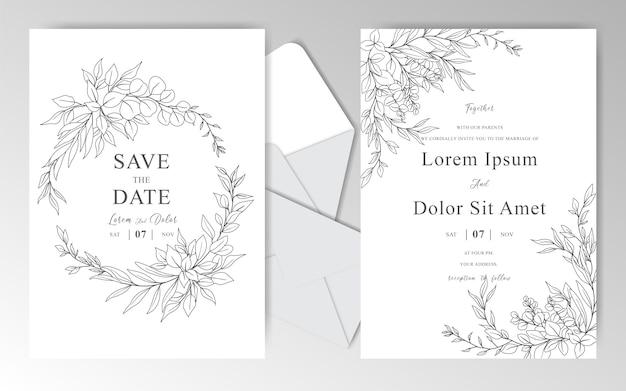 Elegante plantilla de tarjetas de invitación de boda dibujada a mano con hermosas hojas