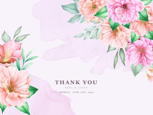 Elegante plantilla de tarjetas de invitación de boda con diseño de acuarela flor de cerezo