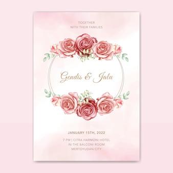 Elegante plantilla de vector de tarjeta de invitación de boda con hermosas flores